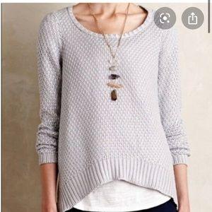 Anthropologie Silver Metallic Knit Sweater Medium